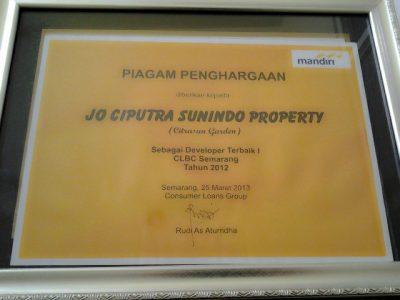 Penghargaan Developer Terbaik CLBC Semarang